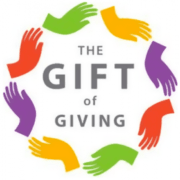 Gift of giving inside coloured circle of hands